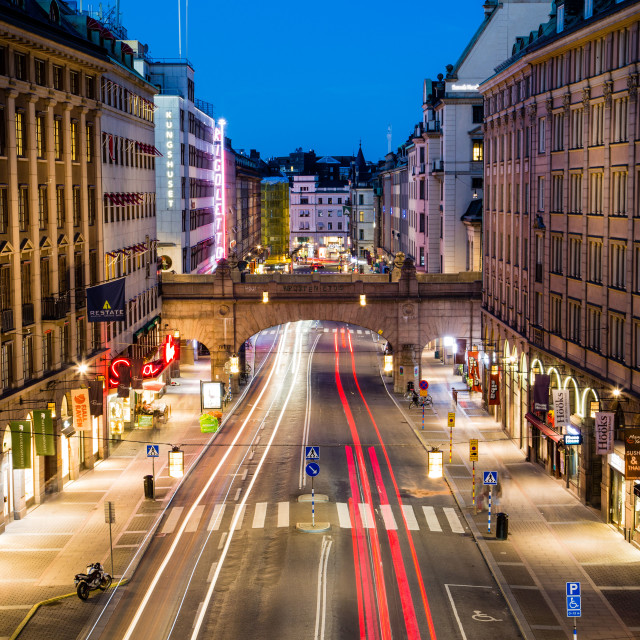 """""""Long Exposure of traffic at night in Stockholm, Sweden"""" stock image"""