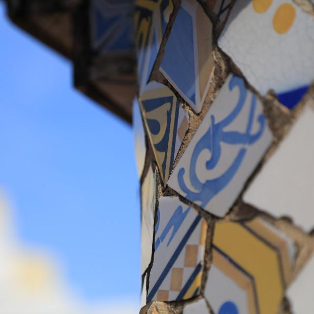 """Gaudi tiles in the Gaudi Park (Park Güell), Barcelona, Spain"" stock image"