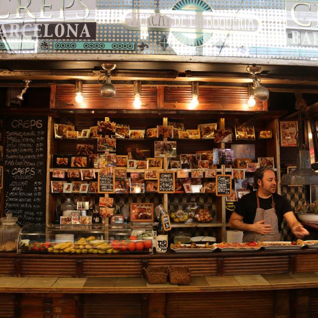 """Deli in Barcelona Market, La Boqueria, La Ramblas, Barcelona, Spain"" stock image"