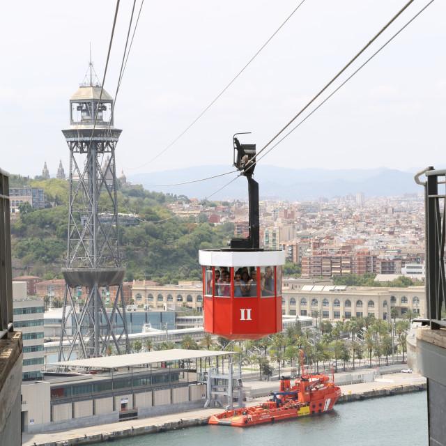 """Barcelona's Port Cable Car - The 'Transbordador Aeri del Port'"" stock image"
