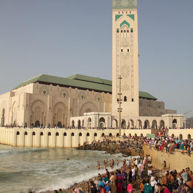 """""""Beach life near Hassan II Mosque, Casablanca, Morocco"""" stock image"""