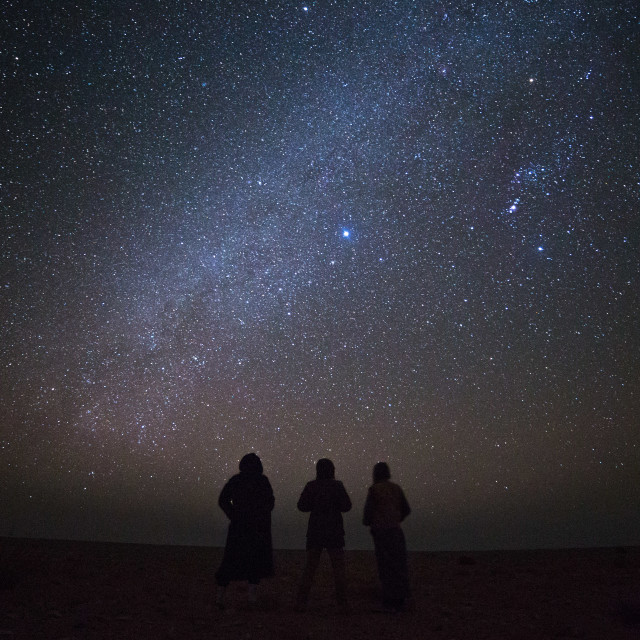 """""""Friends And I With The Stars"""" stock image"""