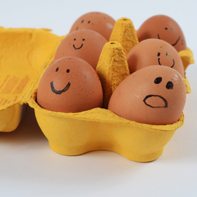 """Carton of Eggs With Faces 2"" stock image"