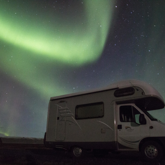 """Northern Lights above camper van, Iceland"" stock image"