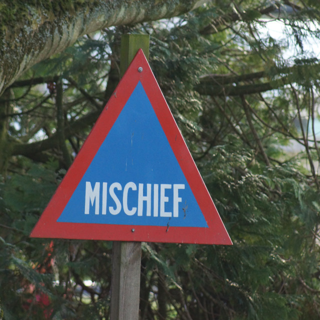 """Road Warning Sign - Mischief"" stock image"