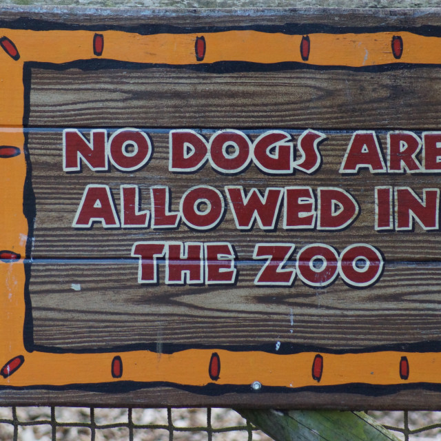 """No Dogs Allowed in the Zoo"" stock image"