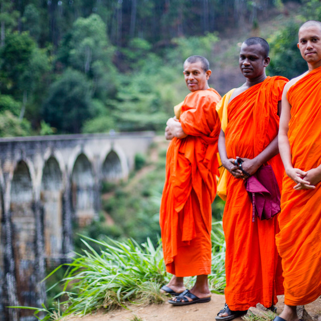 """3 Buddhist monks Demodara Nine Arch Bridge, Sri Lanka"" stock image"
