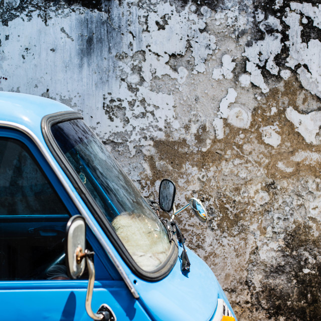 """Colourful van against a textured wall, Galle, Sri Lanka"" stock image"