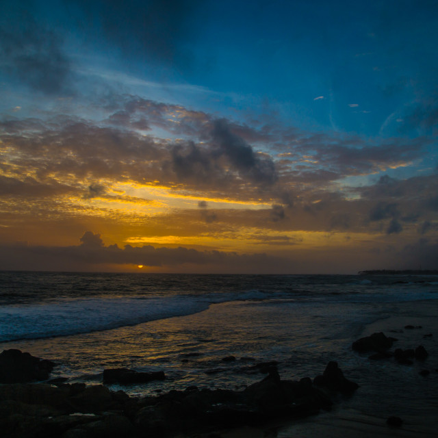 """Sunset over sea in Sri Lanka, Galle"" stock image"