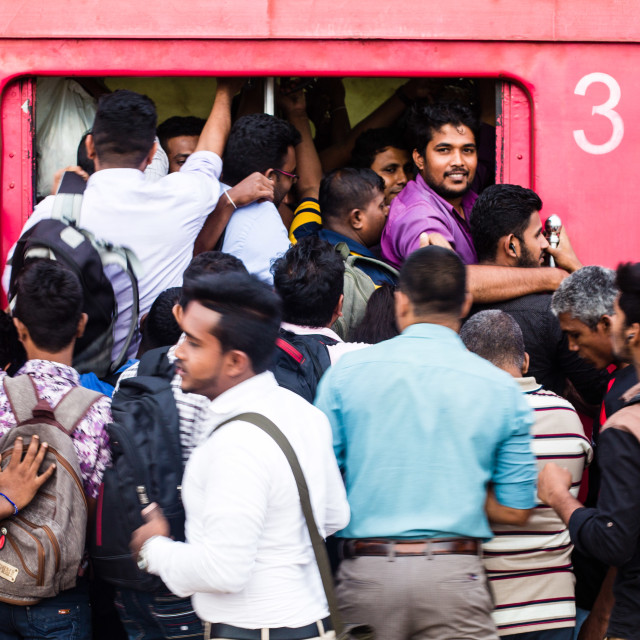 """Busy train in Colombo, Sri Lanka"" stock image"