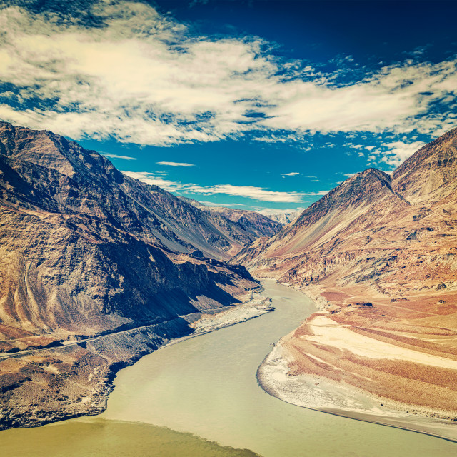 """Confluence of Indus and Zanskar rivers, India"" stock image"