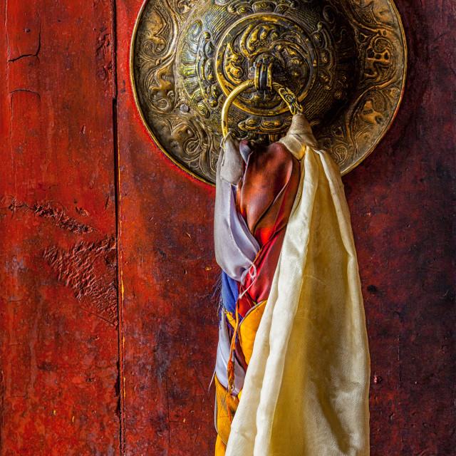"""Door gate handle of Thiksey gompa Tibetan Buddhist monastery"" stock image"