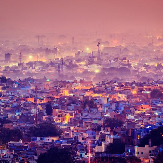 """Aerial view of Jodhpur in twilight"" stock image"