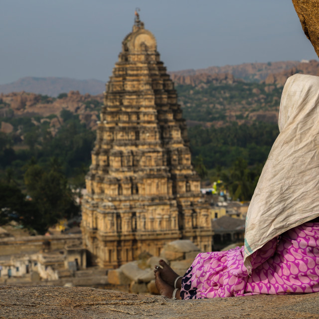 """View of Virupaksha Temple from a hill top in Hampi, India"" stock image"