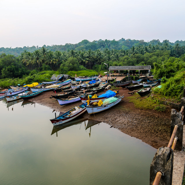 """Boats on the bay near Palolem Beach in Goa, India"" stock image"