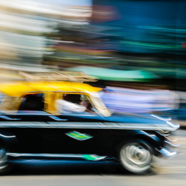 """Colourful taxi photo in Mumbai, India"" stock image"