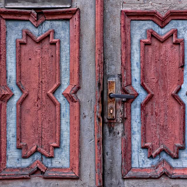 """Patterns Of An Old Estonian Door"" stock image"