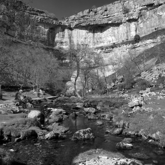 """Malham Cove's massive curved limestone cliffs, a natural beauty spot at the..."" stock image"