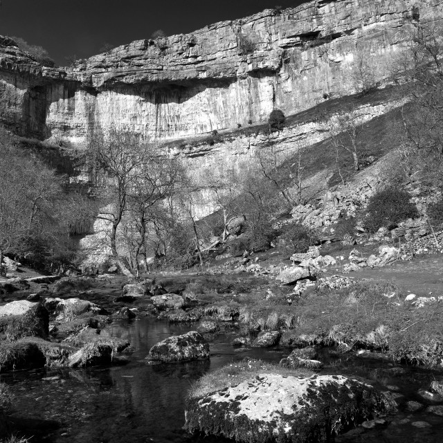 """Malham Cove's, limestone cliffs, Malhamdale, North Yorkshire Dales National..."" stock image"