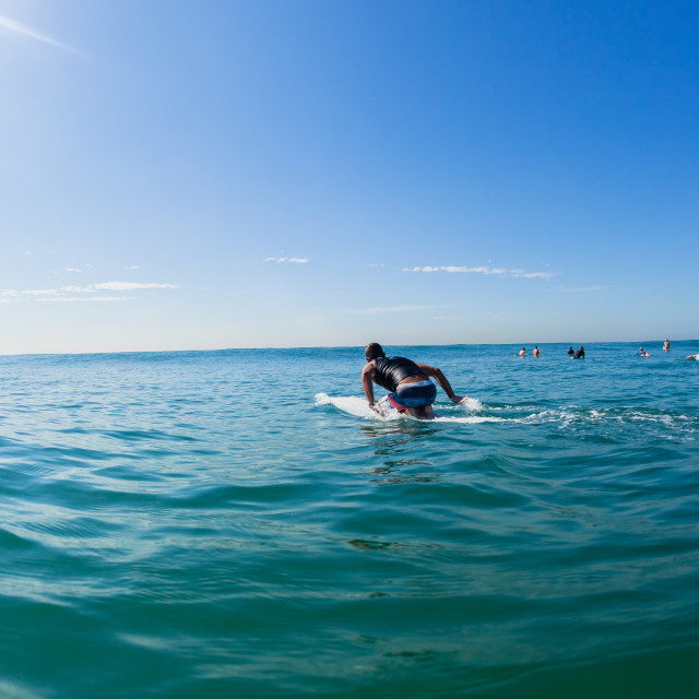 """Surfer Paddle Board Ocean Blue Horizon"" stock image"