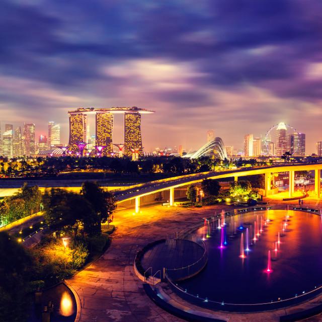 """""""Panorama of Singapore skyline"""" stock image"""