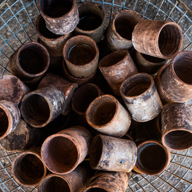 """""""Old clay glasses heap antiques crockery market"""" stock image"""