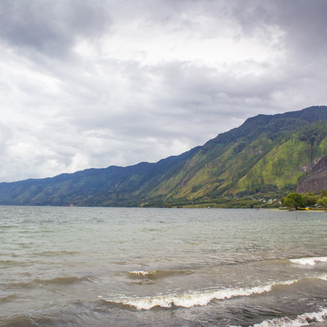 """""""Lake Lut Tawar Takengon Aceh with Cloudy View"""" stock image"""