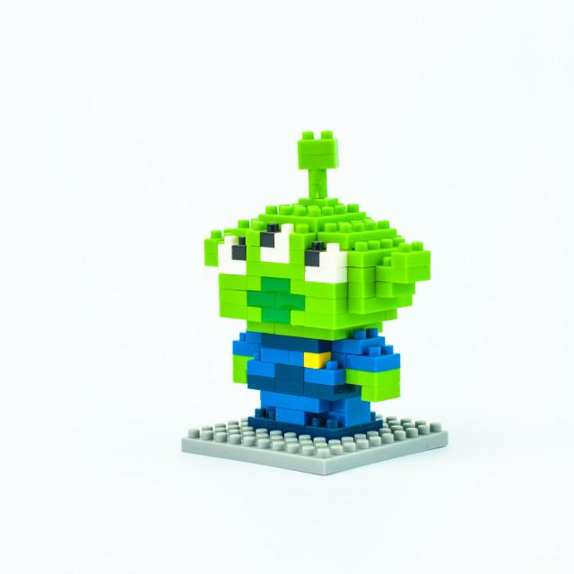 """LITTLE GREEN MAN Micro Blocks"" stock image"