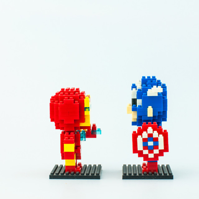"""IRONMAN and CAPTAIN AMERICA Micro Blocks"" stock image"