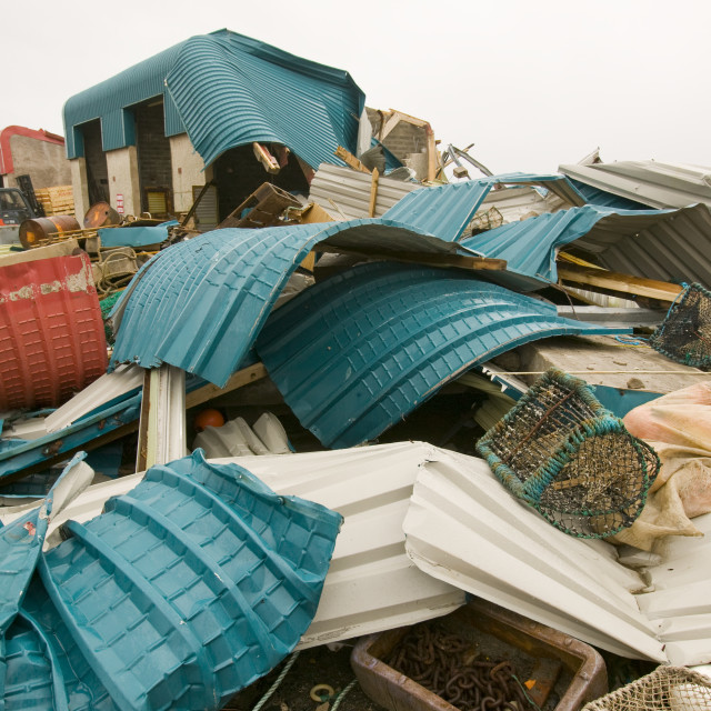 """""""Buildings destroyed by an extreme storm surge that hit Mallaig in January..."""" stock image"""