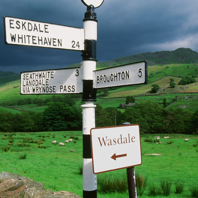 """A road sign in the Duddon Valley in the Lake District UK"" stock image"