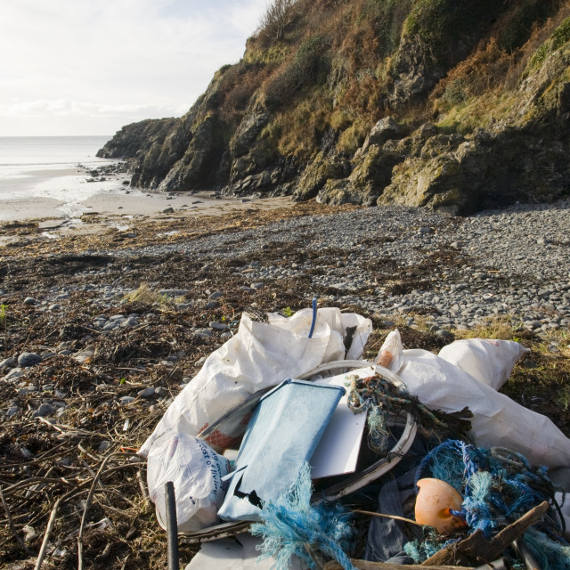"""Plastic rubbish collected off a beach near Portpatrick on the Rhins of..."" stock image"