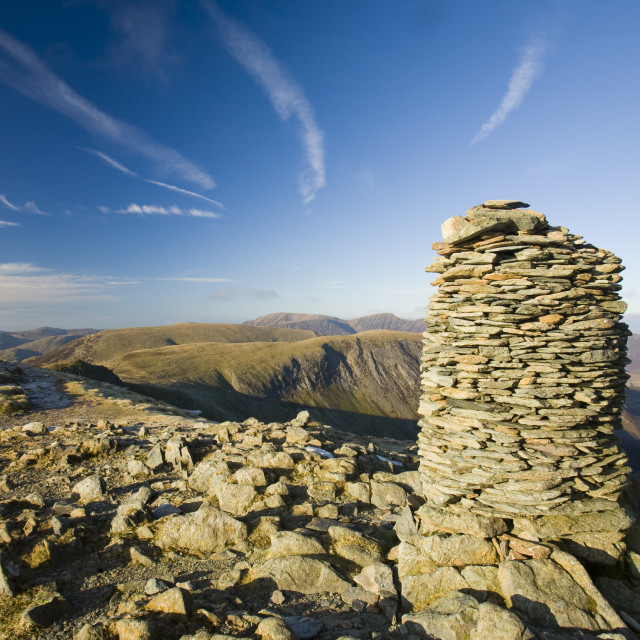 """""""A cairn on the summit of Dale Head in the Lake District above the Newlands..."""" stock image"""