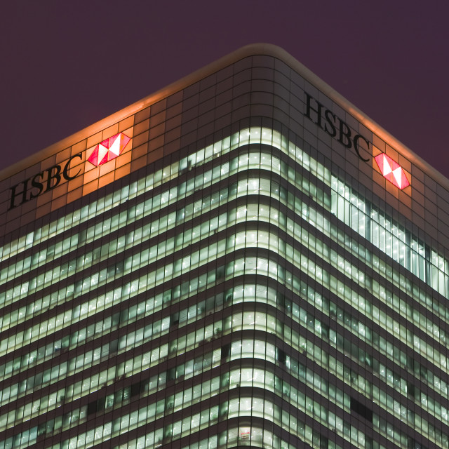 """""""HSBC Bank headquarters at Canary Wharf in London UK"""" stock image"""