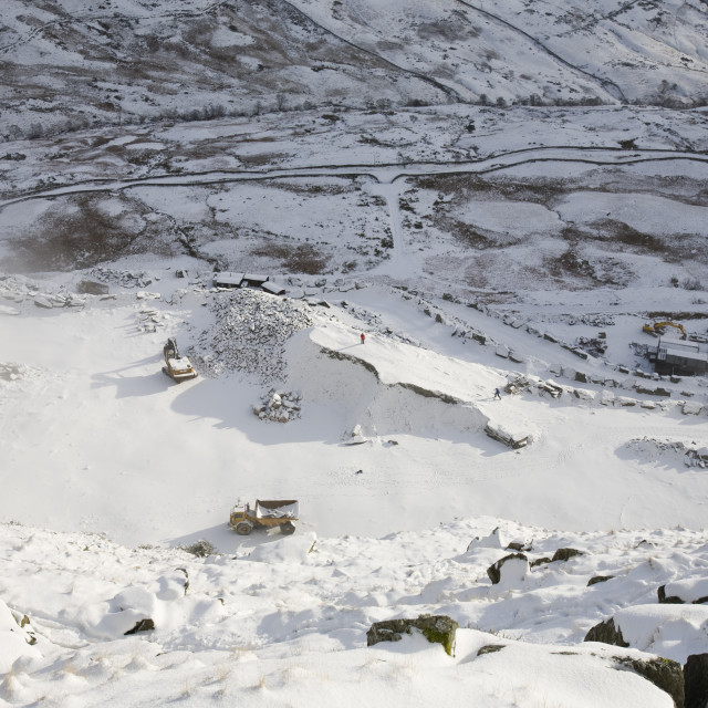 """""""Snow at kirkstone slate quarry in the Lake district UK"""" stock image"""