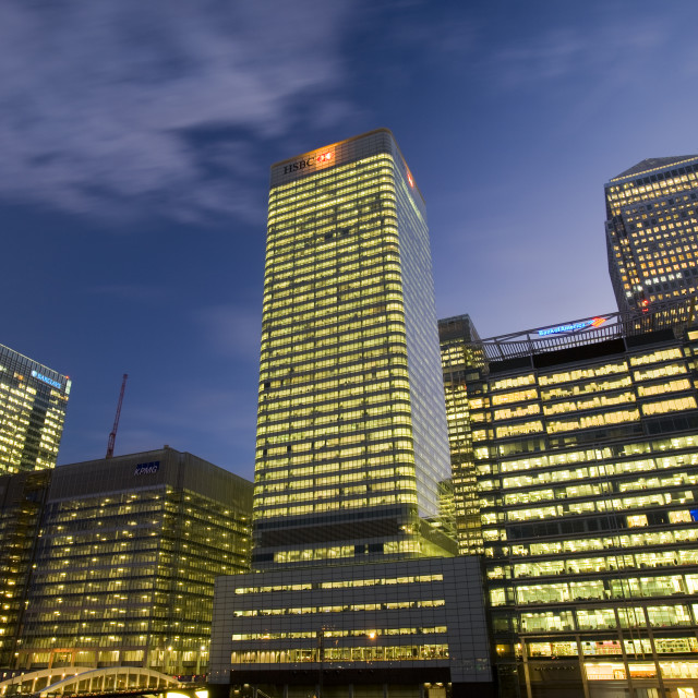 """""""Banking and financial sector buildings at Canary Wharf in London UK"""" stock image"""