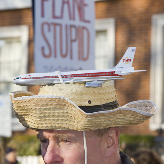 """""""A Plane Stupid Protestor at a climate change rally in London December 2008"""" stock image"""