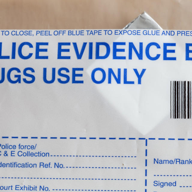 """Police evidence bags for illegal drugs"" stock image"