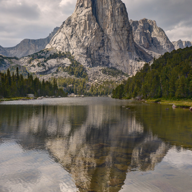"""The Cathedral Reflected in Upper Cathedral Lake"" stock image"
