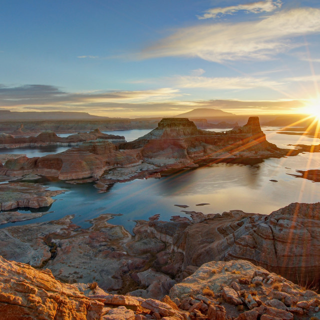 """Sunrise Above Gunsight Bay"" stock image"