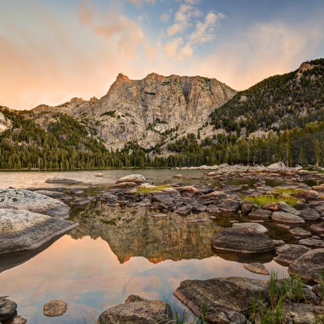"""Sunrise at High Meadow Lake"" stock image"