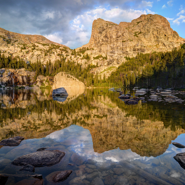 """Morning Reflections in Cliff Lake"" stock image"