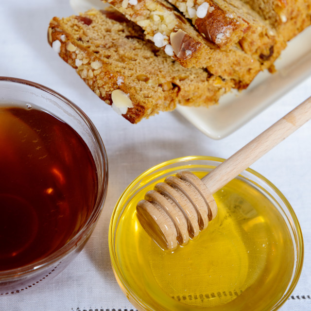 """cup of tea, honey and gingerbread"" stock image"