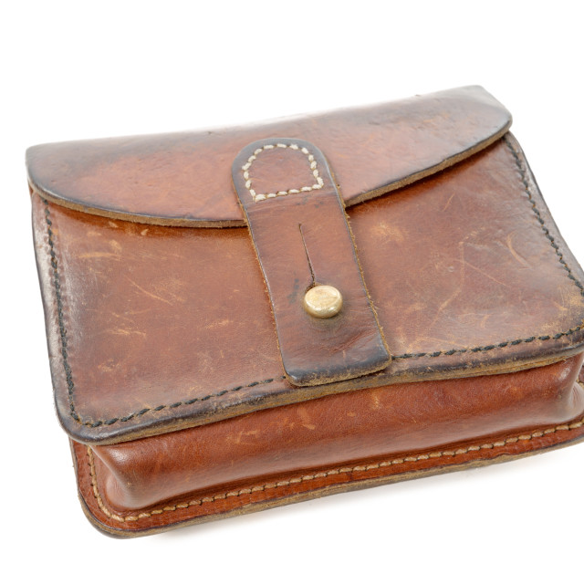 """""""wwii french leather ammo pouch on white"""" stock image"""