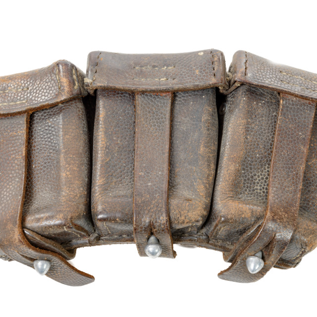 """""""wwii german leather ammo pouch isolated on white"""" stock image"""