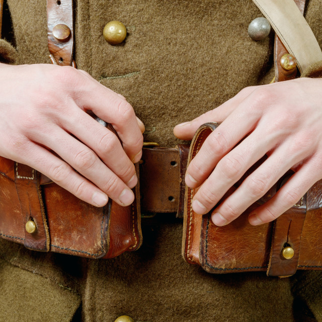 """""""closeup of wwii french leather ammo pouch"""" stock image"""