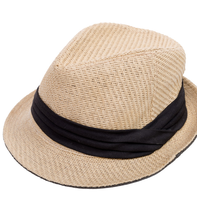 """""""beige hat with a black ribbon"""" stock image"""