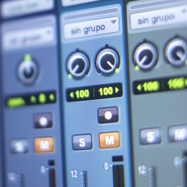 """Recording studio mixing desk"" stock image"