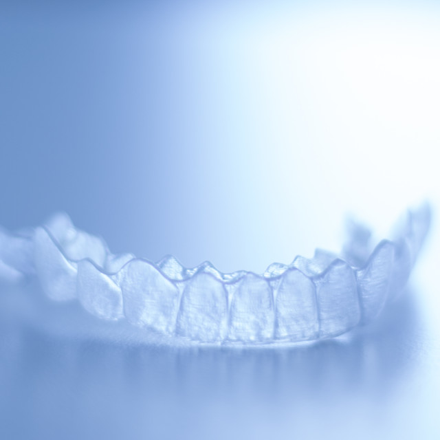 """Invisible orthodontic aligners"" stock image"