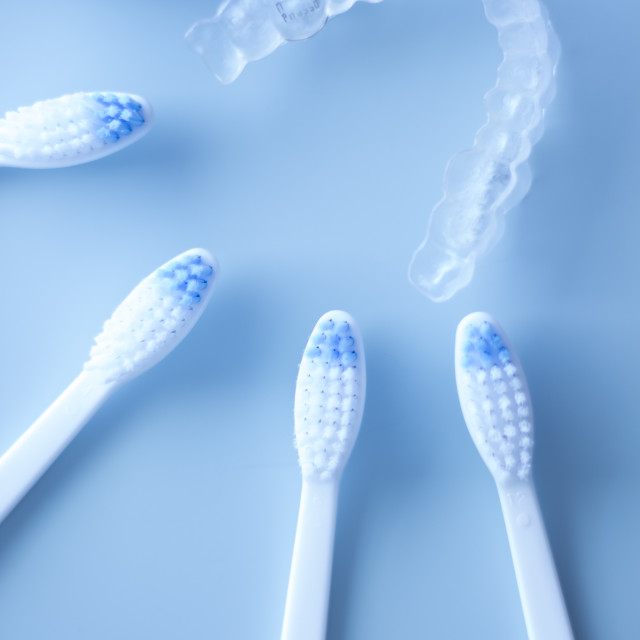 """Dental aligners and toothbrush"" stock image"